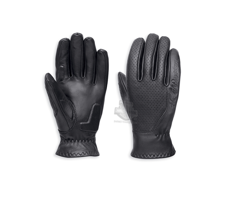 ** SIZE X-LARGE ONLY ** Harley-Davidson® Womens Thayne Perforated Touchscreen Compatible Black Leather Full Finger