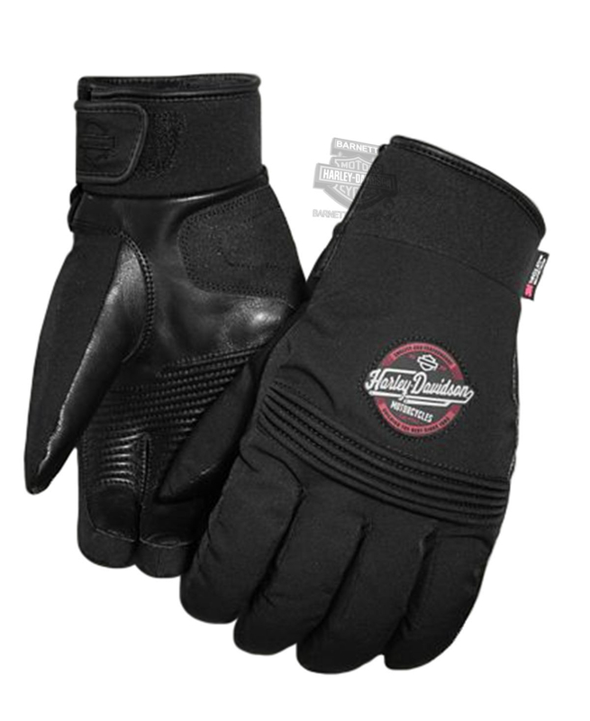 Harley-Davidson® Mens Brentwood Waterproof 3M™ Thinsulate™ Black Nylon Blend Full Finger