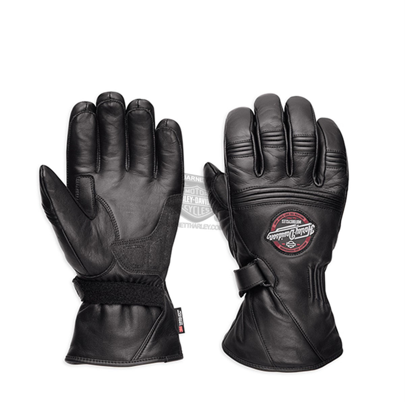 ** BIG SIZES ONLY ** Harley-Davidson® Mens Brentwood Waterproof 3M™ Thinsulate™ Black Leather Gauntlet