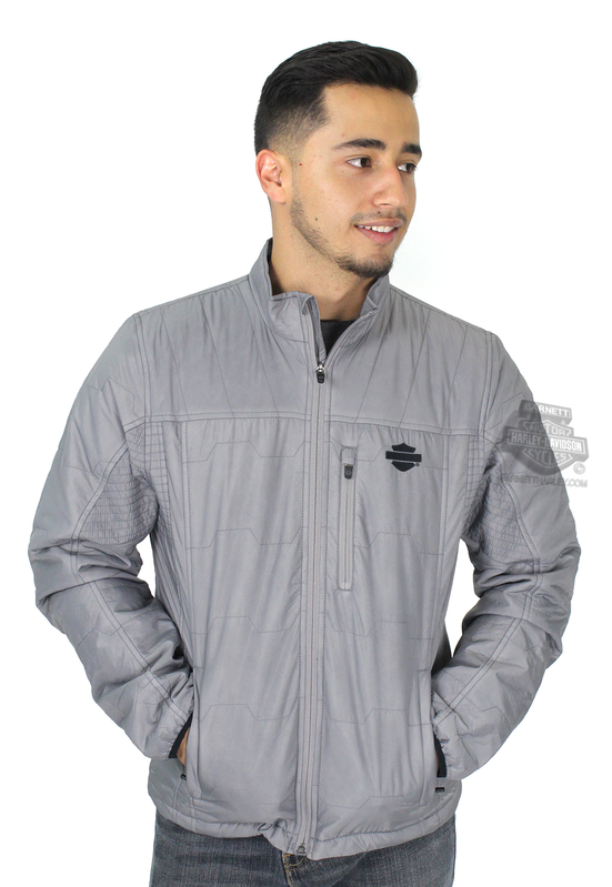 ** SIZE 5X ONLY ** Harley-Davidson® Mens Packable Quilted with 3M™ Thinsulate™ Insulation Grey Casual Jacket
