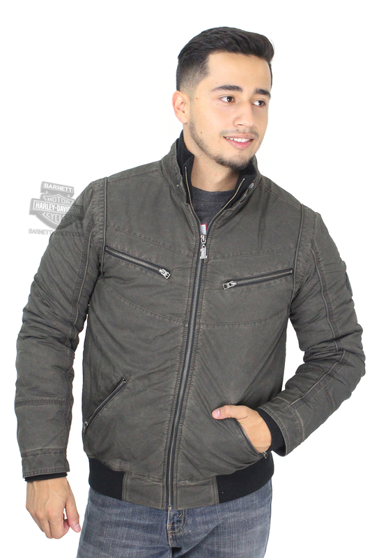 ** SIZE MEDIUM ONLY ** Harley-Davidson® Mens Slim Fit Quilted Lining Enzyme Wash Bomber Black Casual Jacket