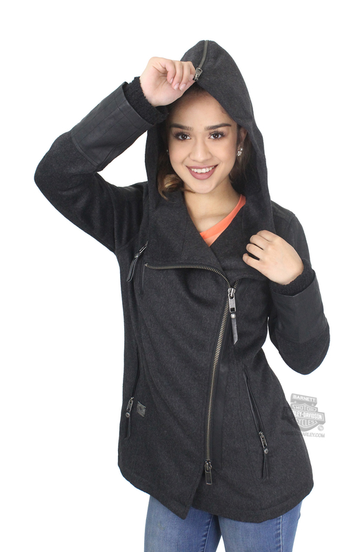 Harley-Davidson® Womens Varsity Split Hood with Asymmetrical Zip Grey Peacoat