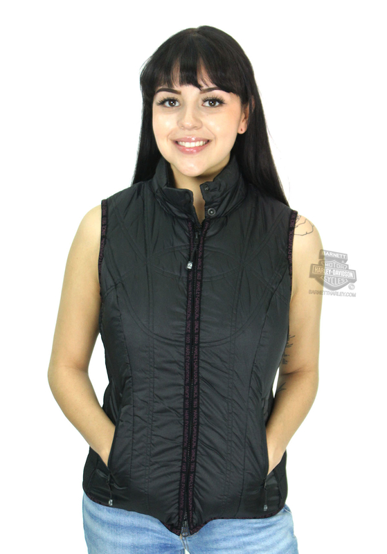 Harley-Davidson® Womens Quilted Lightweight Hooded Puffer Black Vest