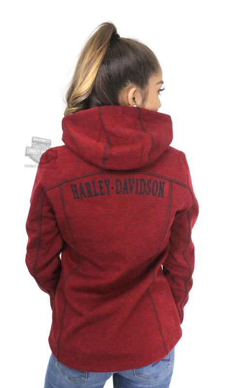 ** SMALL SIZES ONLY ** Harley-Davidson® Womens Windproof Water-Resistant Sweater Knit Mid-Layer Burgundy Casual Jacket