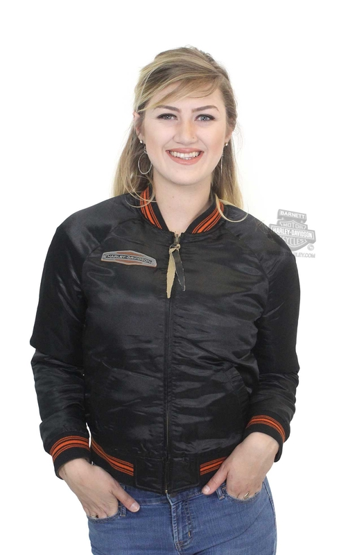 ** BIG SIZES ONLY ** Harley-Davidson® Womens Reversible Retro-Inspired Satin Bomber Black Casual Jacket