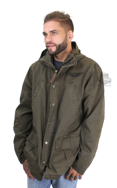 Harley-Davidson® Mens Flannel Lined Hooded Utility Brown Casual Jacket