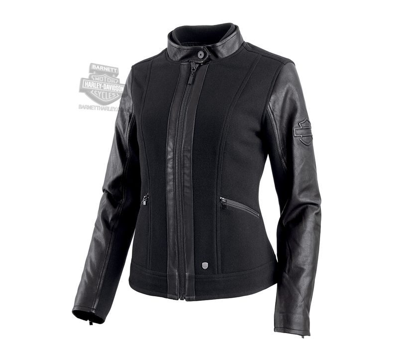 Harley-Davidson® Womens Leather Accent B&S Logo Black Casual Jacket