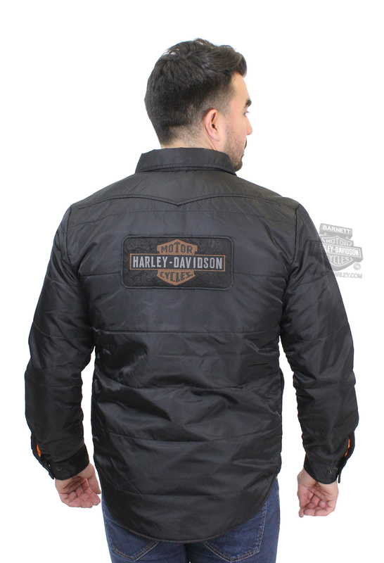 ** MEDIUM & 3X ONLY ** Harley-Davidson® Mens Quilted Trademark B&S Slim Fit Black Long Sleeve Shirt Jacket
