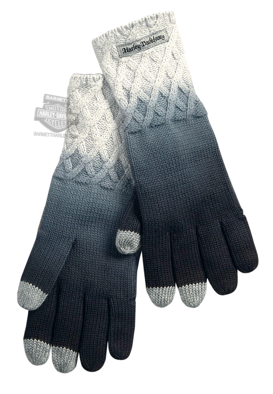 Harley-Davidson® Womens Ombre Diamond Pattern Touchscreen Compatible Grey Cotton Full Finger