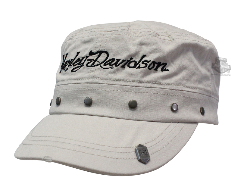 Harley-Davidson® Womens Studded Band with Rivet Stone Cotton Flat Top Cap