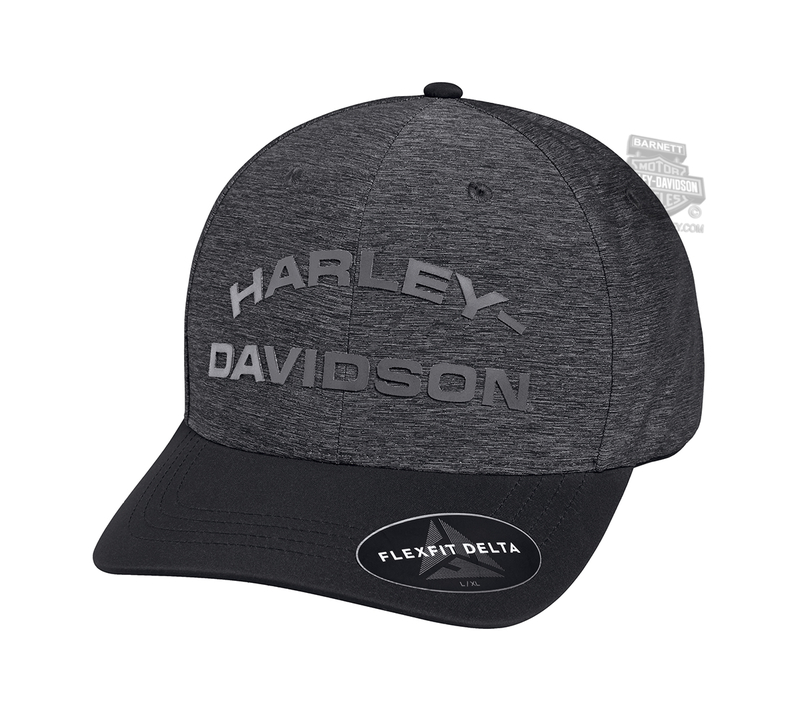 ** SIZE SMALL ONLY ** Harley-Davidson® Mens Tonal High Density Print with Delta Technology Grey Nylon Blend Stretch Fit Baseball