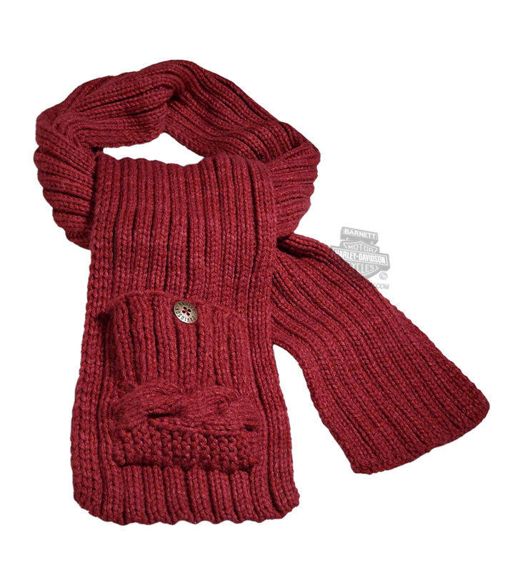 Harley-Davidson® Womens Chunky Knit with Pocket Red Acrylic Scarf