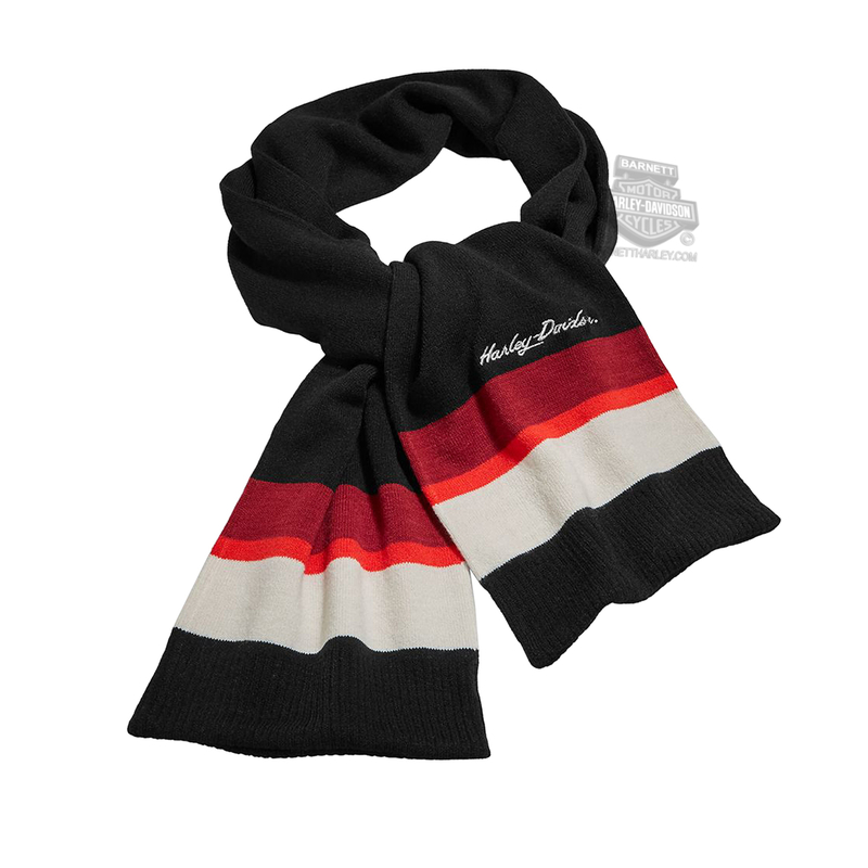 Harley-Davidson® Womens Striped Embroidered Graphics Black Acrylic Blend Scarf