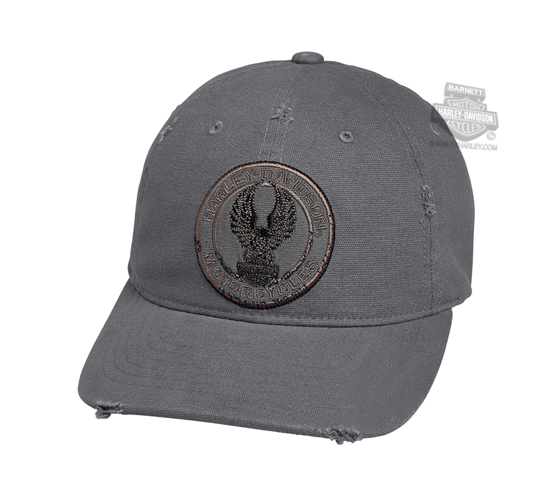 Harley-Davidson® Mens Distressed Eagle Patch Charcoal Cotton Baseball Cap