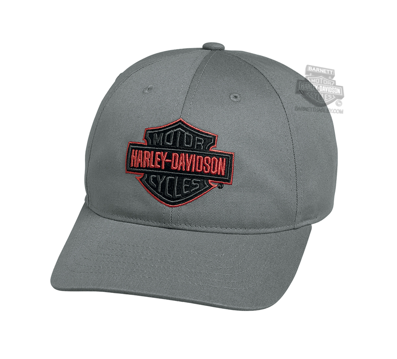 Harley-Davidson® Mens B&S Logo Adjustable Grey Cotton Baseball Cap