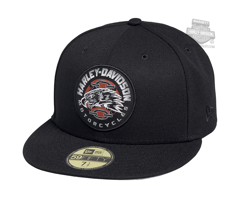 Harley-Davidson® Mens Eagle Patch 59FIFTY® By New Era 5950 Black Polyester Fitted Baseball Cap