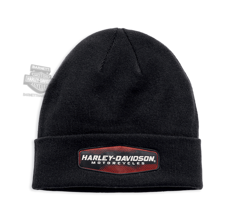 Harley-Davidson® Mens Cuffed Woven Patch Black Acrylic Knit Cap