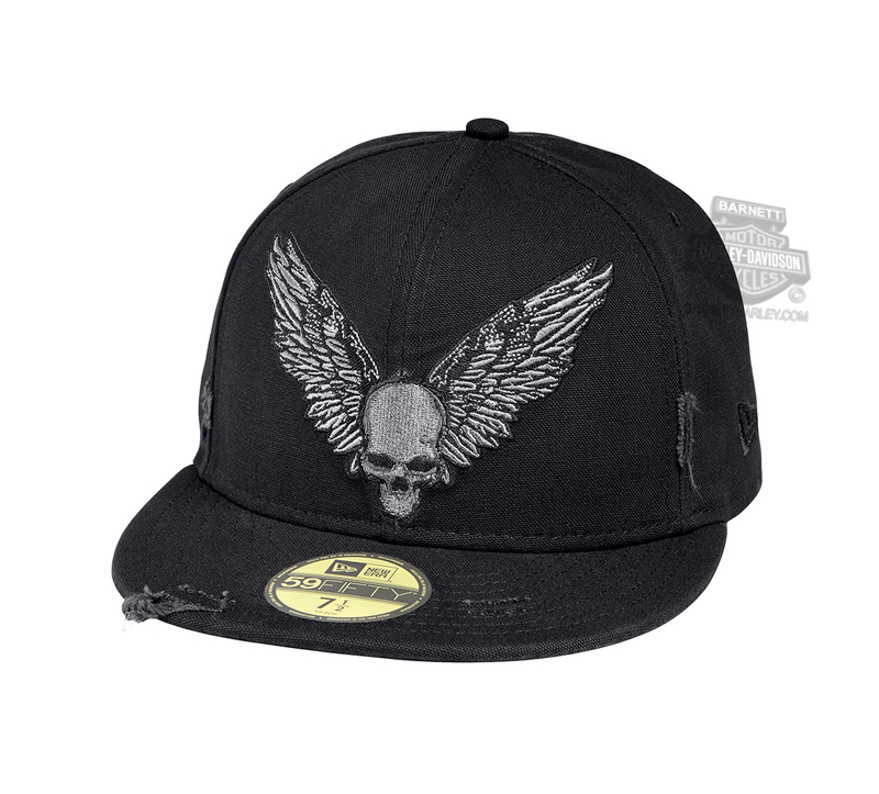 Harley-Davidson® Mens Winged Skull Frayed 59FIFTY® By New Era 5950 Black  Cotton 3254a6e84983