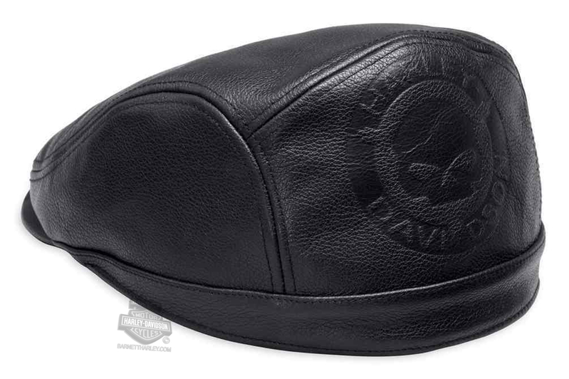 Harley-Davidson® Mens Willie G Skull with Sweatband Black Leather Ivy Cap