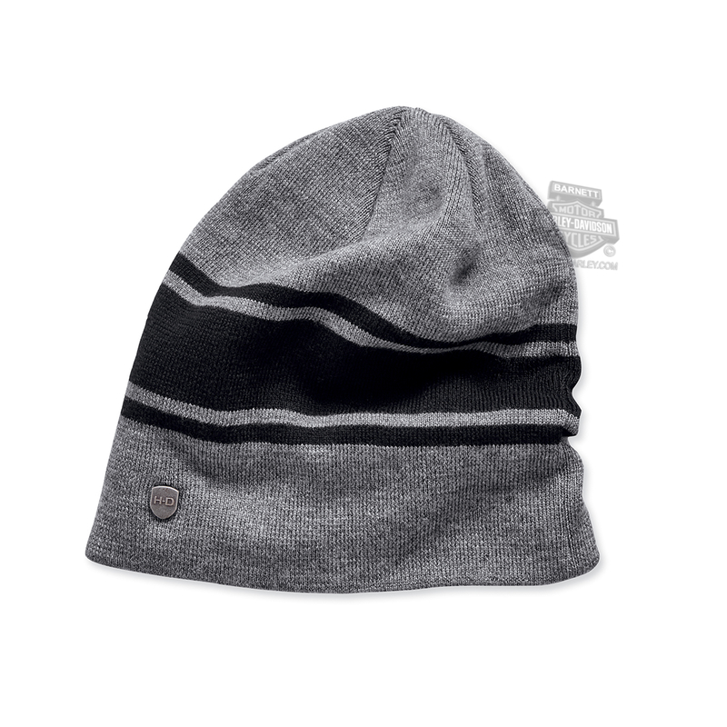 Harley-Davidson® Mens Slouch Fit Striped Grey Wool Blend Knit Cap