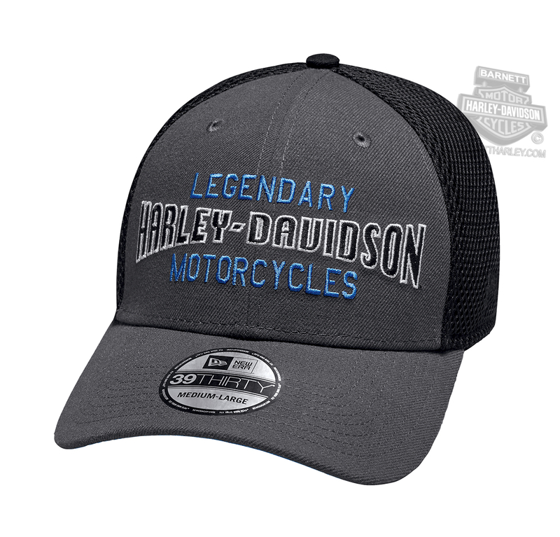 Harley-Davidson® Mens Legendary 39THIRTY® by New Era 3930 Charcoal Polyester Stretch Fit Baseball Cap