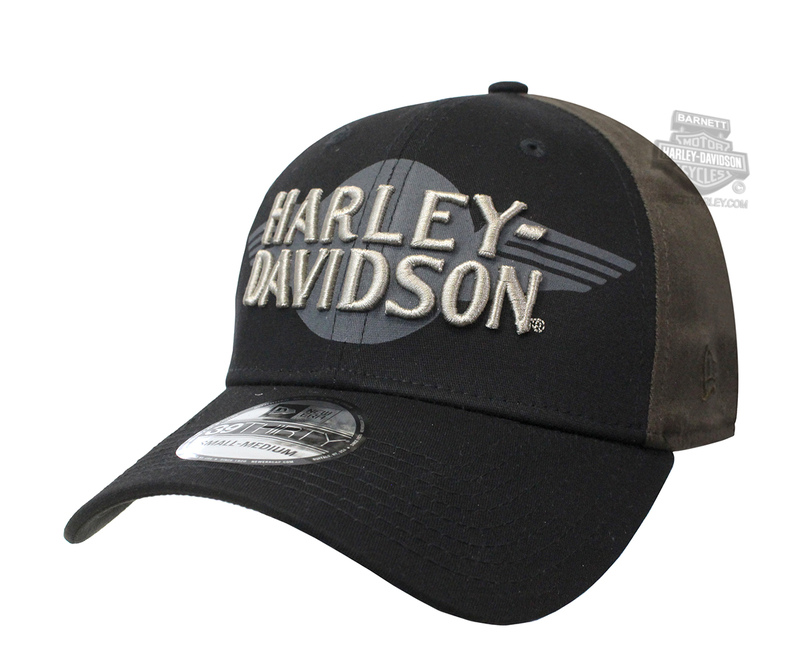 Harley-Davidson® Mens Colorblock 39THIRTY® by New Era 3930 Black Cotton Stretch Fit Baseball Cap