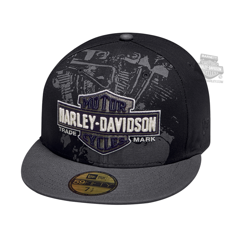 Harley-Davidson® Mens Engine Trademark B&S 59FIFTY® by New Era 5950 Black Cotton Fitted Baseball Cap