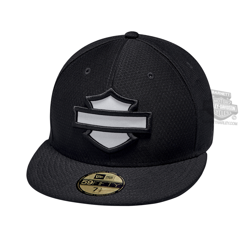 ** SIZE LARGE - (7 3/8) ONLY ** H-D® Mens Hex B&S Mesh 59FIFTY® by New Era 5950 Black Polyester Fitted Baseball Cap
