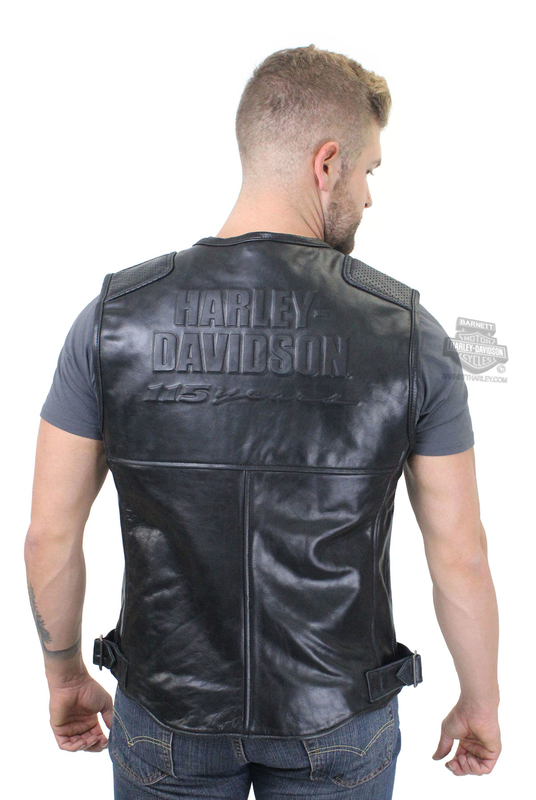 ** BIG SIZES ONLY ** Harley-Davidson® Mens 115th Anniversary with Contrast Stitching Black Vest