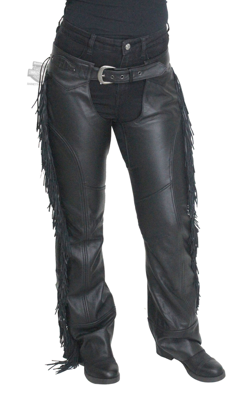 Harley-Davidson® Womens Boone Fringed Winged B&S Patch Black Chaps