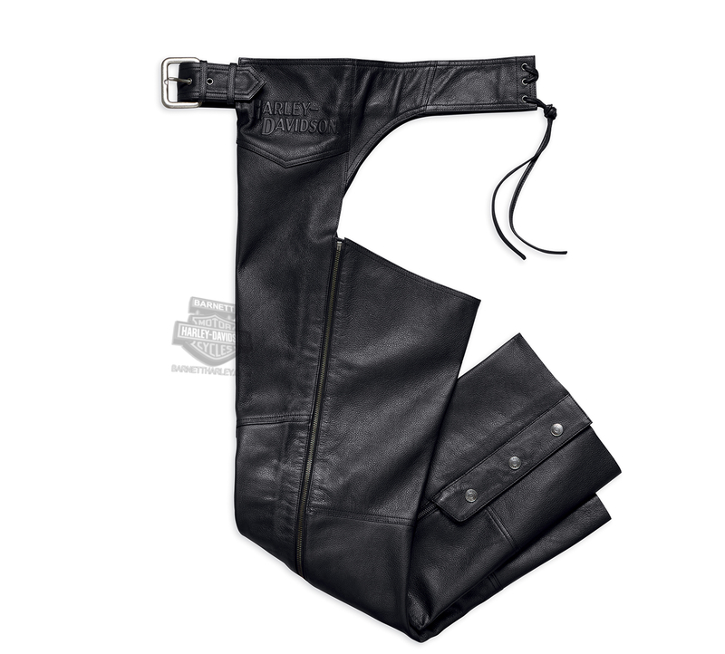 Harley-Davidson® Mens Stock II with Embossed Graphics Black Leather Chaps