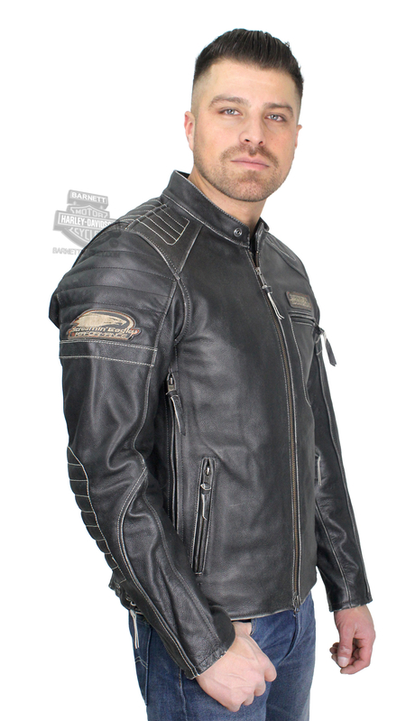 Harley-Davidson® Mens Screamin Eagle Distressed Look Black Leather Jacket