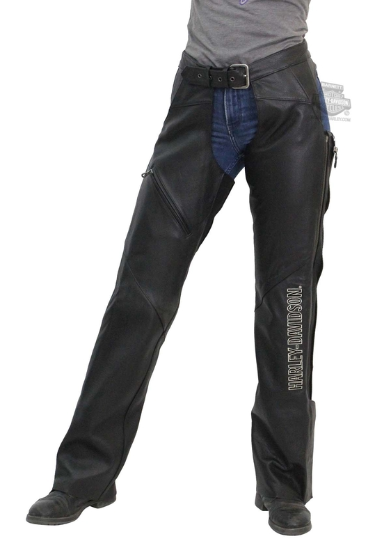 Harley-Davidson® Womens Deluxe Black Leather Chaps