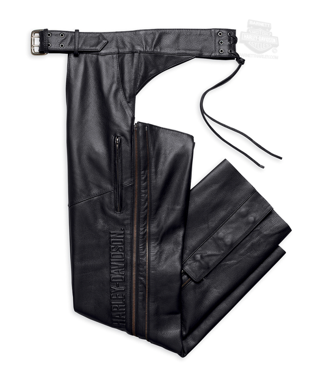 Harley-Davidson® Mens Deluxe Midweight Black Chaps