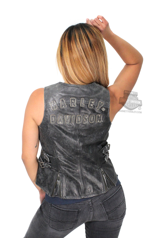 ** SIZE X-SMALL ONLY ** Harley-Davidson® Womens Dust Rider Distressed Two-Way Zipper Front Black Vest