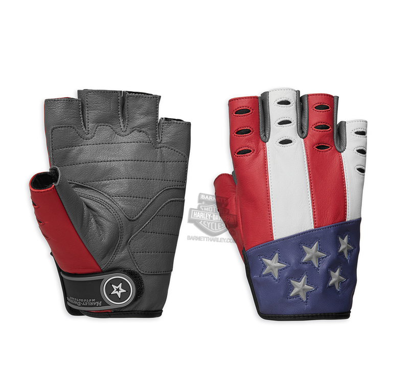 Harley-Davidson® Mens Patriot Red, White & Blue Reflective Red Leather Fingerless Gloves