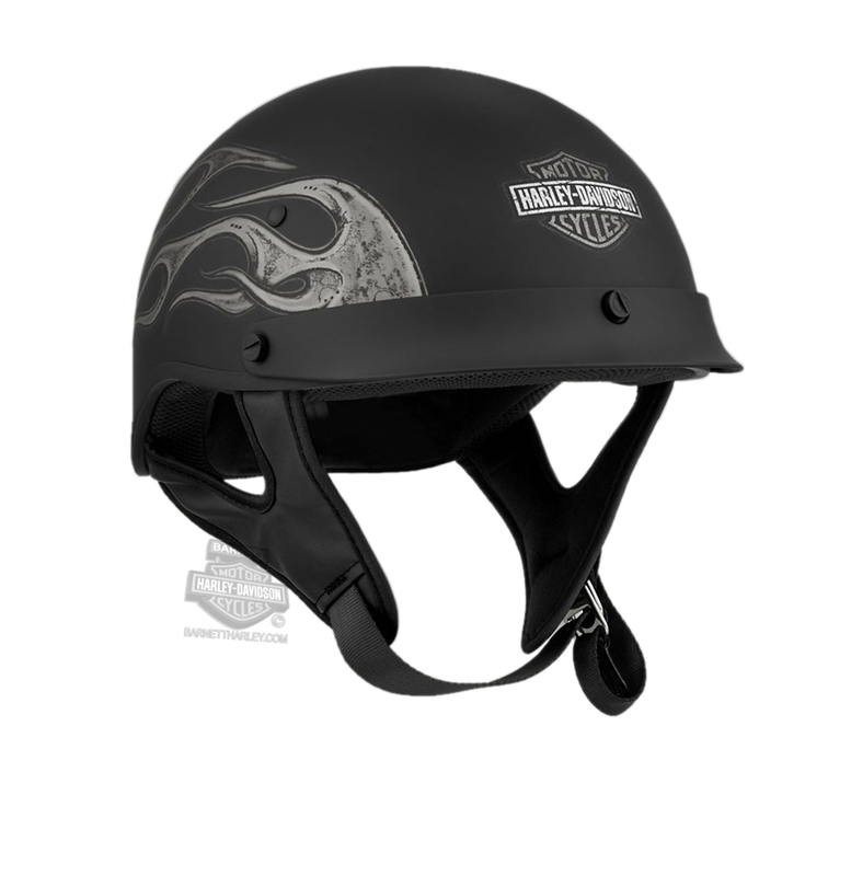 Harley-Davidson® Mens Wheeler M04 B&S with Grey Flames Matte Black Half Helmet