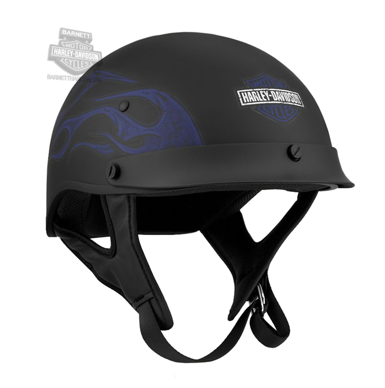Harley-Davidson® Mens Wheeler M04 B&S with Blue Flames Matte Black Half Helmet