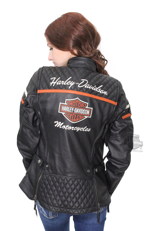 ae3c48c7aa777 Harley-Davidson® Womens Miss Enthusiast B S Quilted Triple Vent System™  Black Leather Jacket
