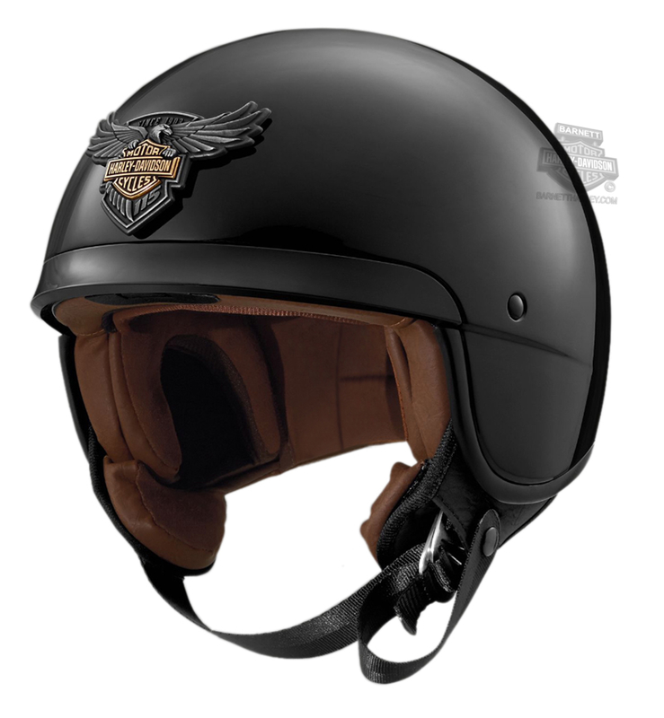 ** SIZE X-LARGE ONLY ** Harley-Davidson® Mens 115th Anniversary Medallion B09 Gloss Black 5/8 Face Helmet *36HR*