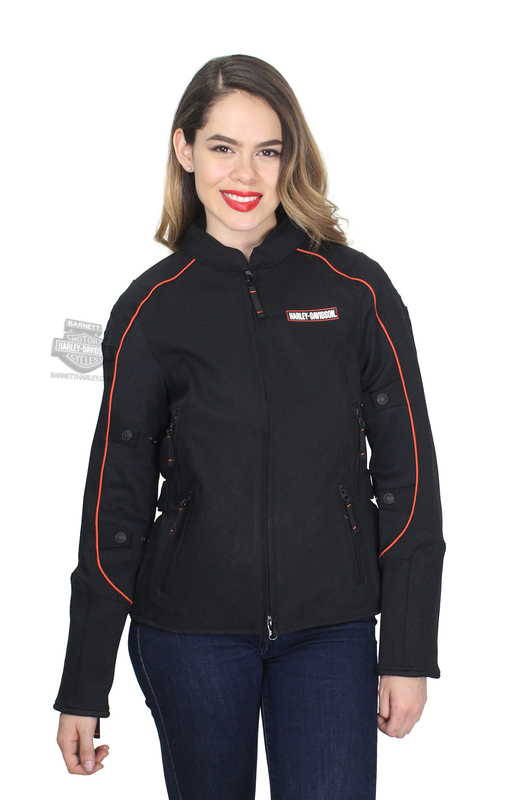 Harley-Davidson® Womens Fennimore Stretch Reflective Riding Black Casual Jacket