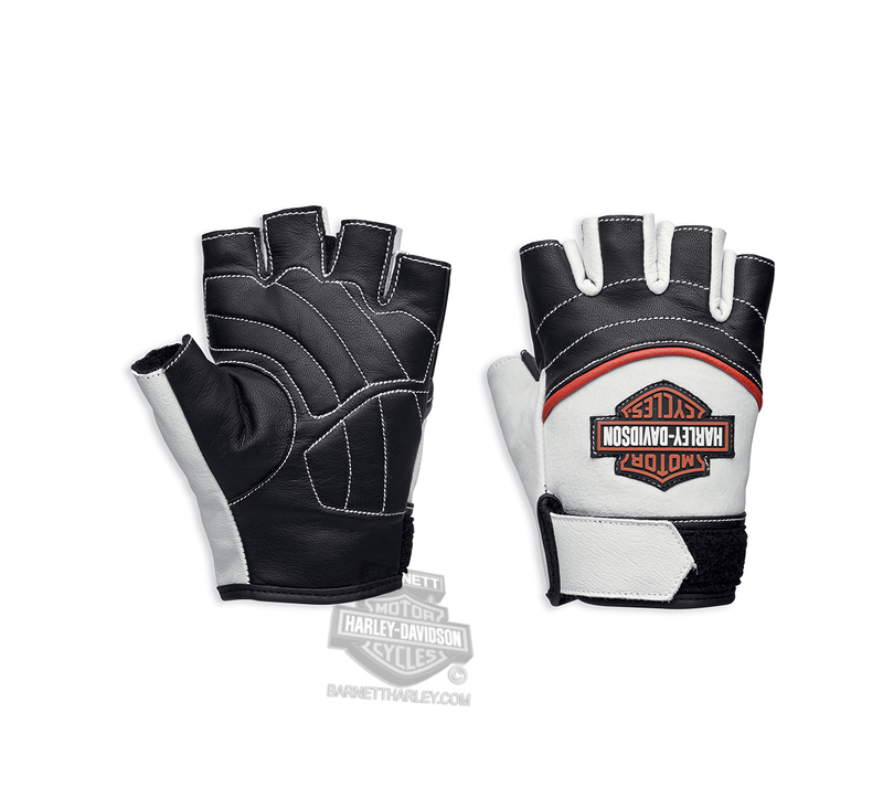 Harley-Davidson® Womens Whistler B&S Rubber Patch White Leather Fingerless