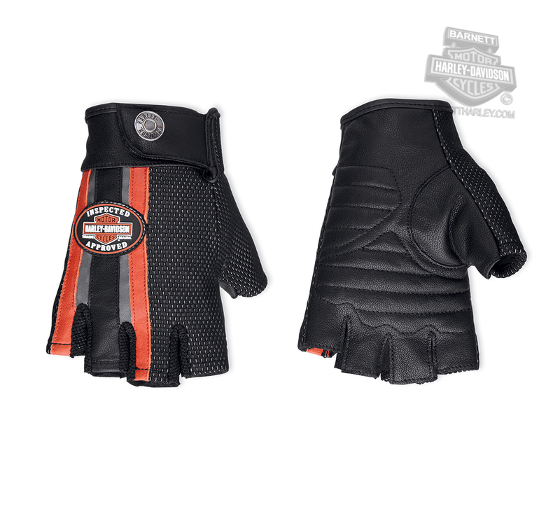 Harley-Davidson® Womens Trademark B&S Reflective Coolcore™ Technology Black Leather Fingerless