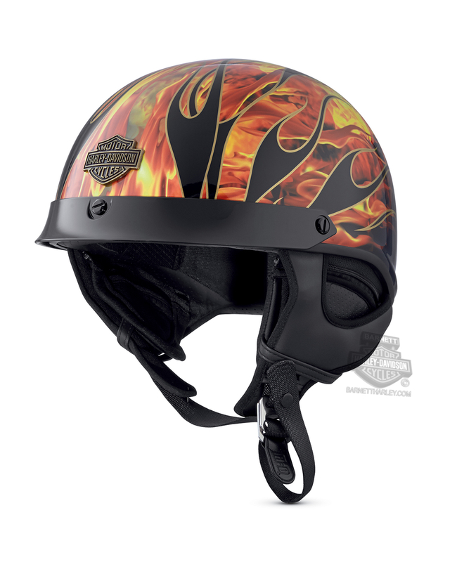 Harley-Davidson® Mens Fire Breather Flames Ultra-Light J02 Gloss Black Half Helmet