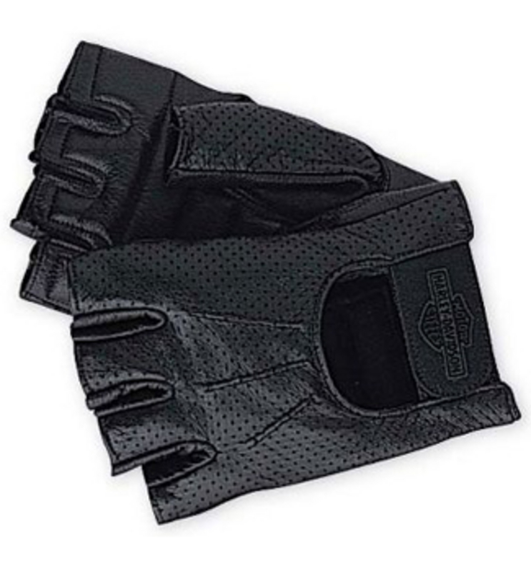 Harley-Davidson® Mens Perforated Fingerless Leather Gloves