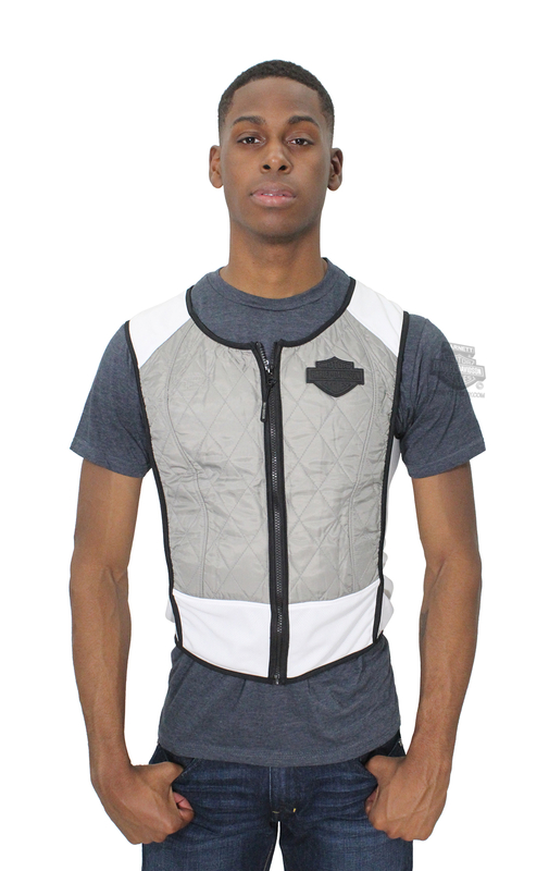 ** SIZE SMALL & 2X ONLY ** Harley-Davidson® Mens Dual Cool B&S Logo HyperKewl® Cooling Kit Grey Vest