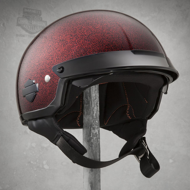Harley-Davidson® Womens Paramount with B&S Sun Shield Glitter Flake Red Half Helmet