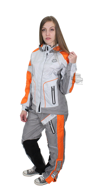 Harley-Davidson® Womens Midpoint B&S Reflective Waterproof Grey Rain Suit