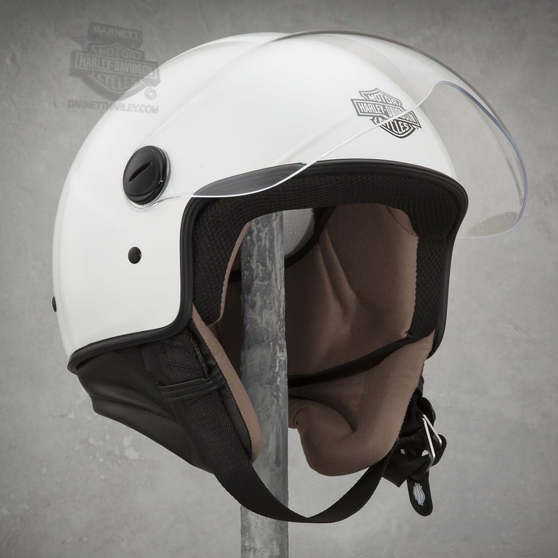 Harley-Davidson® Womens Contempo B&S 5/8 Neck Curtain White 3/4 Face Helmet