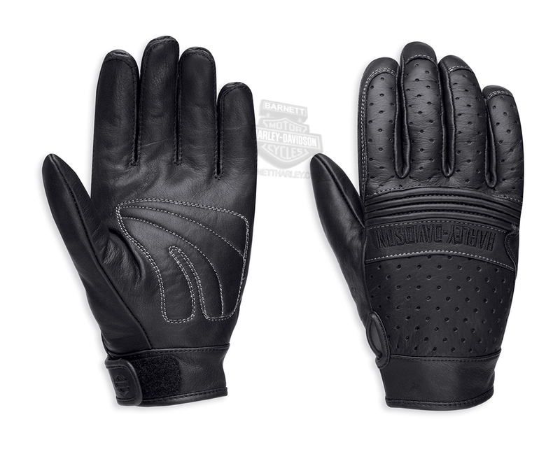 ** SIZE SMALL ONLY ** Harley-Davidson® Mens Avalon Perforated Black Leather Full Finger